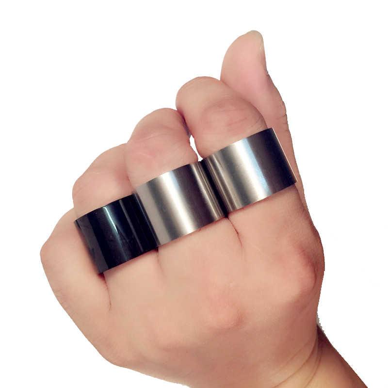 1Pcs Dull Polish Matte Men's Black Titanium Steel Finger Rings For Men and Women Party Street Fashion Style Rings 14mm 18mm