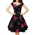 Mujeres de talla grande ropa 3XL 4XL pin up vestidos de 2016 rose estampado de flores con cuello en v manga corta atractiva de la vendimia partido oficina dress