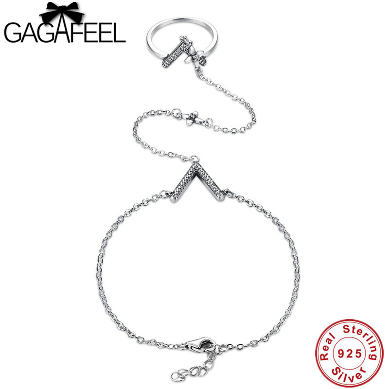 GAGAFEEL Fashion 925 Sterling Silver Letter V Bracelets Ring for Women Bangles Sterling Silver Jewelry