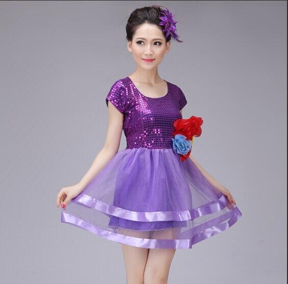 Women Ballroom Dance Dress Sequins Modern Dance Costume Purple Color in Ballroom from Novelty Special Use
