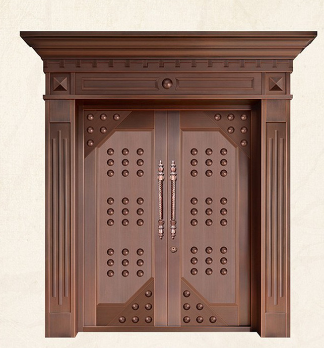 Bronze Door Security Copper Entry Doors Antique Copper Retro Door Double Gate Entry Doors H-c7