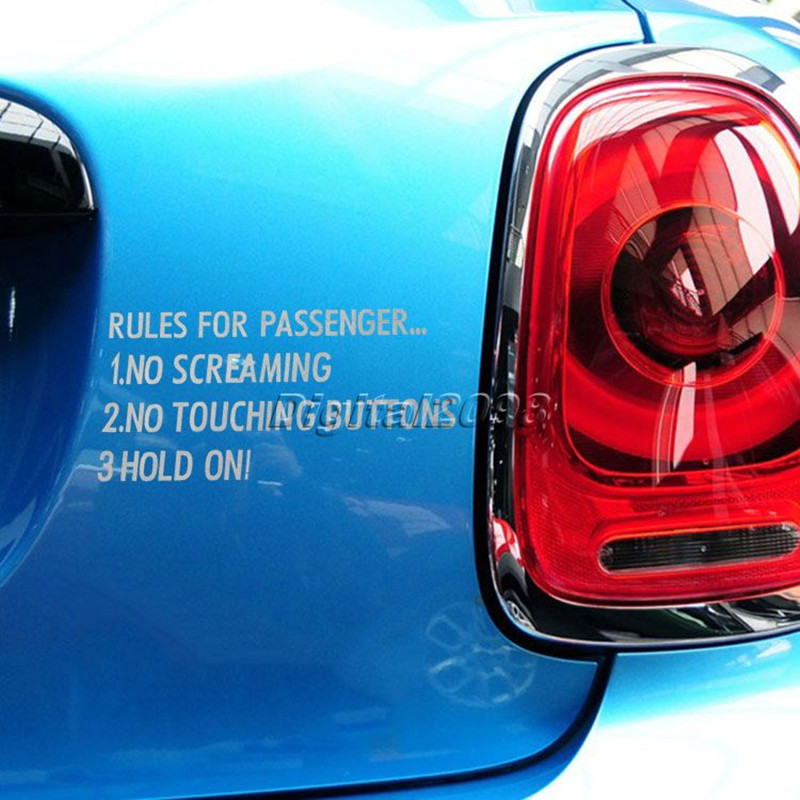 Yetaha Car Accessories RULES FOR PASSENGER Car Sticker Covers - Custom vinyl decals covering for motorcycles