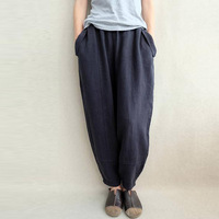 2018 Celmia Autumn Women Elastic Waist Retro Cotton Linen Baggy Harem Pants Solid Loose Casual Long