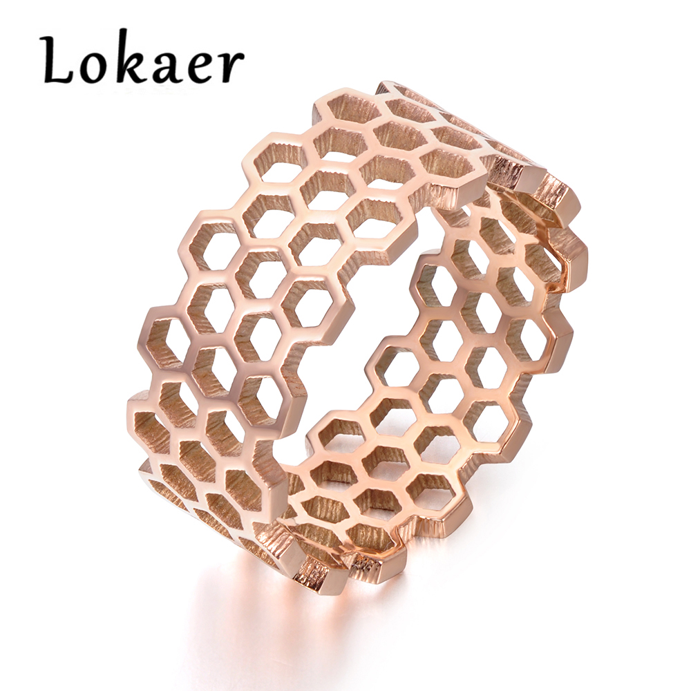 Lokaer Original Design Titanium Steel Hollow Hexagonal Geometric Ring Rose Gold Color Trendy Rings Jewelry For Women R171430333R