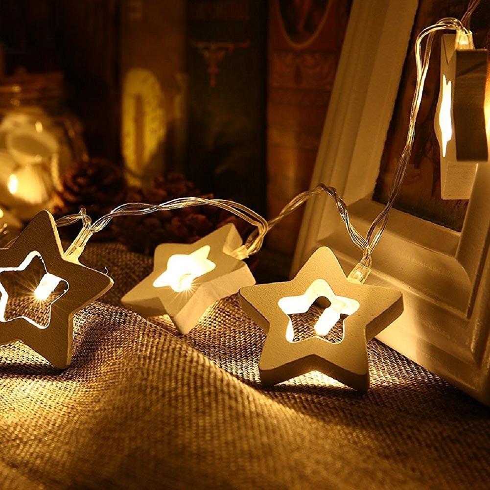 10 LED Lamp String Wooden Heart/Tree/Star/Snowman Lights Warm White Lighting Wedding Birthday Party Christmas Decoration _WK