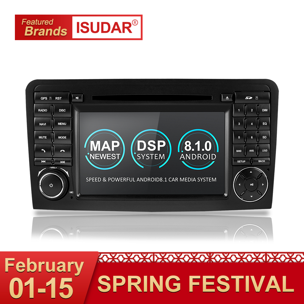 Isudar Due Din Car Multimedia player GPS Android 8.1 Lettore DVD Per Mercedes/Benz/ML/GL CLASS w164 ML350 ML500 GL320 Radio FM