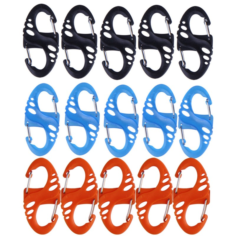 5pcs S Type Climbing Hook All-in-one Mini Keychain Carabiner Outdoor Dual Buckle Key Chain 8 Shape Buckle For Camping Traveling