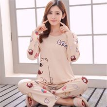 New Women Pajamas Sets autumn winter Sleeve Thin Cartoon Print Cute Loose Sleepwear Girl pijamas Mujer