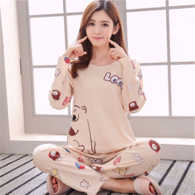 New Women   Pajamas     Sets   autumn winter Sleeve Thin Cartoon Print Cute Loose Sleepwear Girl pijamas Mujer Leisure Nightgown Women