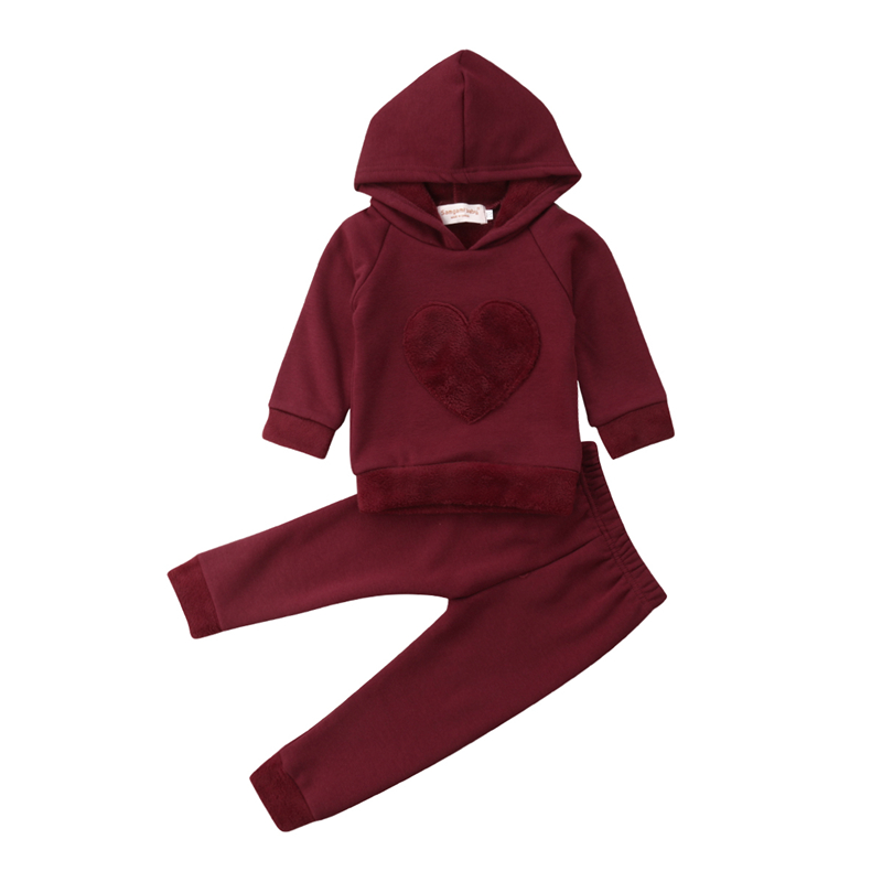 37caa0441 2Pcs Newborn Toddler Baby Boys Girl Red Heart Sunsuit Set Kids Girls Cotton  Hooded Sweatshirt Tops Long Pants Outfit Clothes