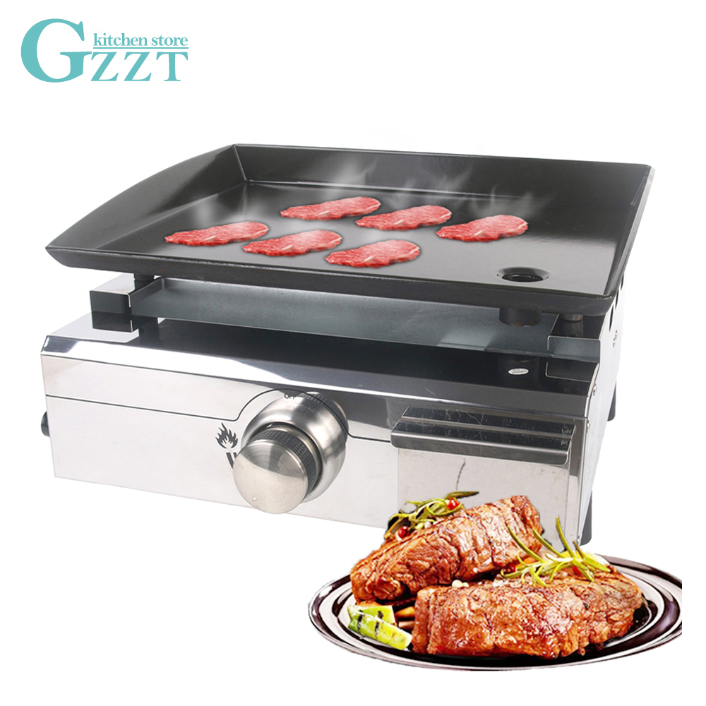 Gzzt ITOP Kitchen LPG Gas Plancha Outdoor Use Stainless Steel Gas Griddle BBQ Grills Enamel Cooking Plate Cooking Area 420*340mm