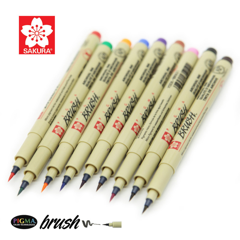 9 pcs/set Sakura Fine Line Pen Brush paintbrush Soft waterproof cartoons Pigma Micron Pen Art Markers алмазный брусок extra fine 1200 mesh 9 micron dmt w7e