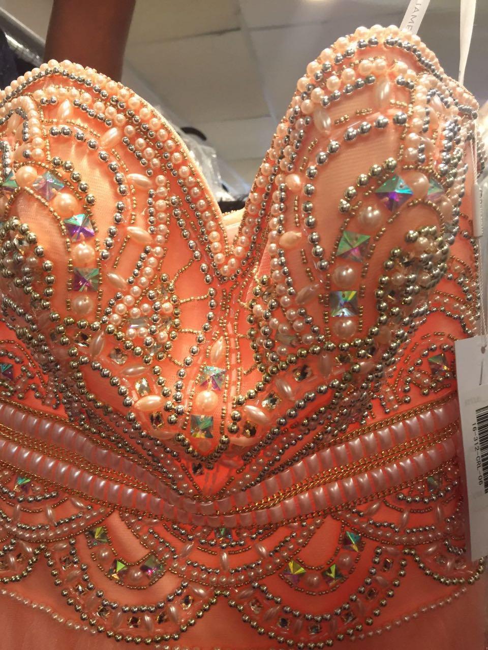 Increíble Sexy brillante 2018 cuentas formales de cristal cuentas de costura Organza largo Formal fiesta noche vestido de desfile - 4