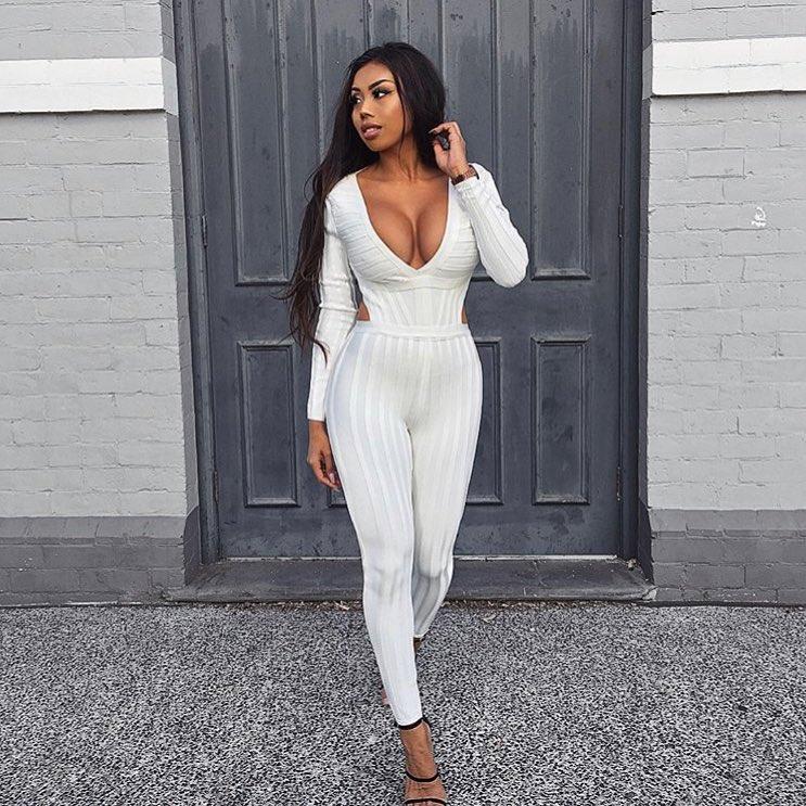 À Celebrity Dames Cou Femmes De Party Blanc Longues Designer Nouveautés Sexy Manches Bandage V Mode Salopette aInZv