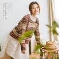 Japonés Mori Chica Gypisy Harajuku Impresión de La Vendimia de Punto Rainbow Chandail Femme Dames Vesten Invierno Pullover Mujeres Suéteres