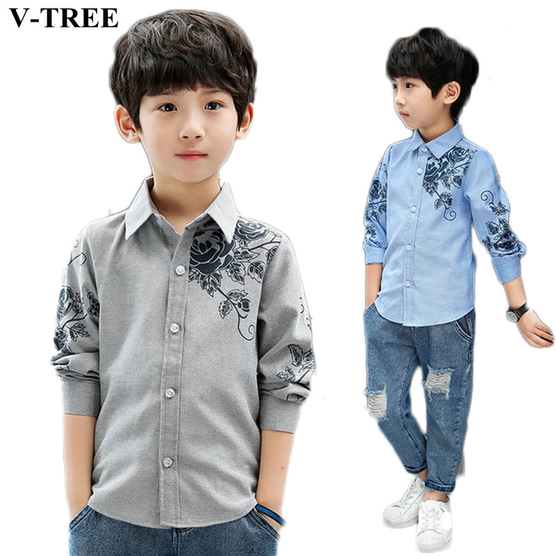 Boys Shirts Kids Clothing Blouse Long-Sleeve Teenager Print Baby Cotton for Outerwear