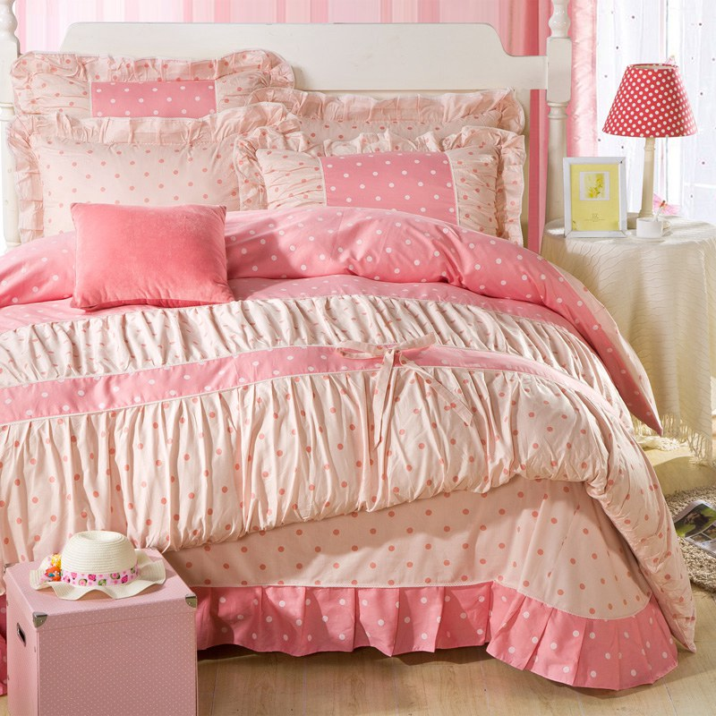 YADIDI 100  Cotton Classic Princess Polka Dot Girls Bedding Sets. Girls Sheet Sets  Girls Queen Bedding Best 25 Teen Bedding Sets