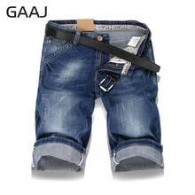 1e4bec084ea 2018 Новый GAAJ джинсы мужские джинсовые шорты мужские укороченные джинсы  летние Повседневное синие прямые джинсовые шорты
