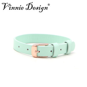 Image 4 - Vinnie Design Jewelry Genuine Leather Wrap Bracelets with Rose Gold Buckle for Keeper Slide Charms Multicolor 10pcs/lot