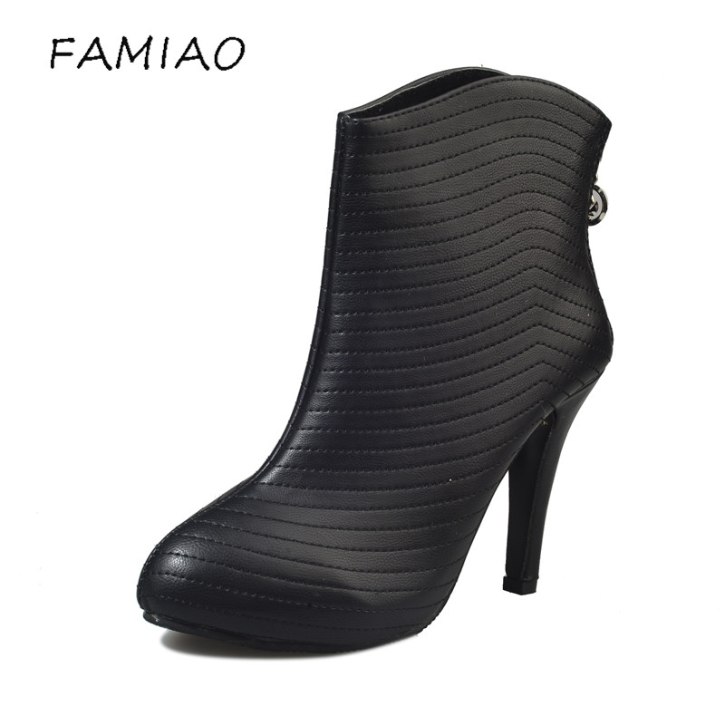 FAMIAO fashion sexy high heels genuine leather women boots brand pointed toe thin heel party shoes martin boots ankle boots famiao women boots sexy high heel zapatos mujer tacon 2017 gary black buckle ankle boots for women shoes pointed toe winter