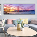 GoldLife HD Impressão Pintura de Paisagem Da Lona San Francisco Golden Gate Bridge Sunset Art Home Decor Imagem do Cartaz Da Parede