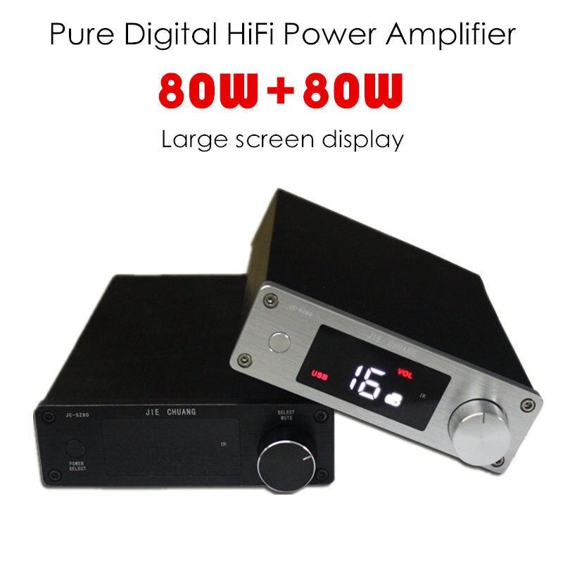 Hi-Fi 80W+80W Digital Power Amplifier USB Optical Coaxial Digital Signal Input LCD Display Remote Control