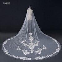 2018 Bridal Veils 4m Luxury Suadi Arabic Appliqued Wedding Veils Long Ivory Cathedral Veil Velo Novia Largo WV028