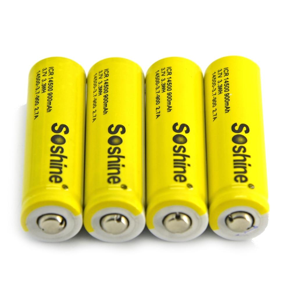 HFES New Soshine 4 pz 14500 AA Batteria senza Protetto 3.7 V 900 mAh Li-Ion Ricaricabili con Contenitore di Batteria