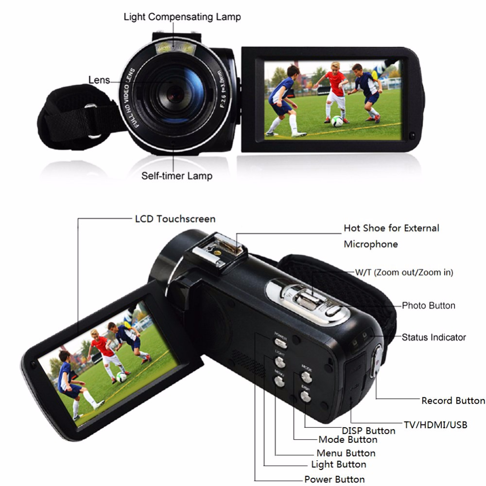 "17 Seree New Arrival FHD 1080P Digital Camera Wifi Video Camcorder 24MP 16x Zoom COMS Sensor 270 Degree 3.0"" LCD Screen 6"