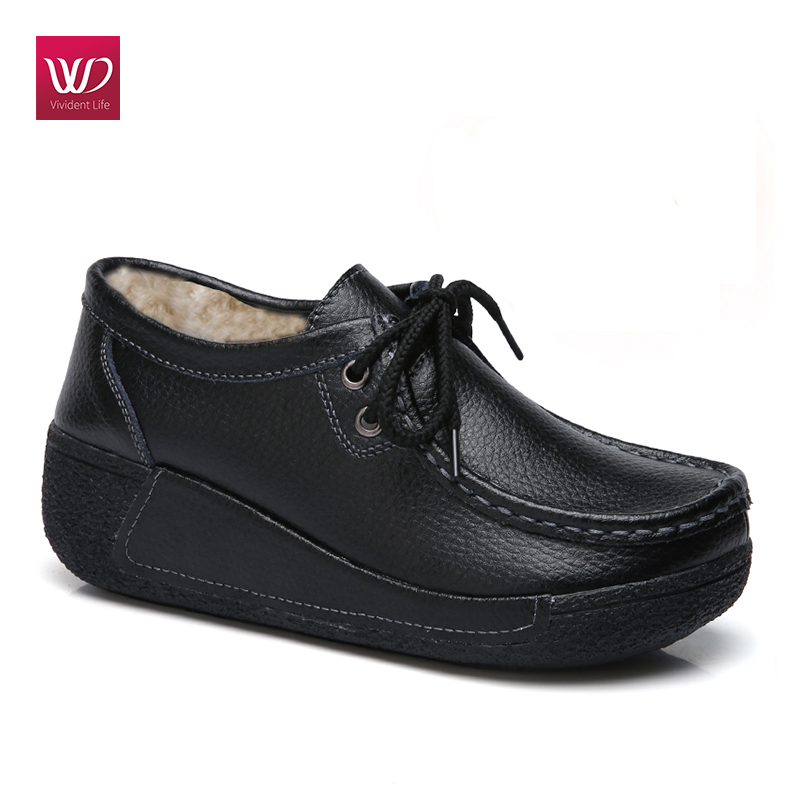 Vivident Genuine Leather Flats Platform Casual Women Shoes Creepers Shake Shoe Sneakers Lace Up Shoe Round Toe Zapatos Mujer de la chance 2018 black genuine leather women shoes harajuku flats lacing single casual shoes woman creepers shoe flat platform