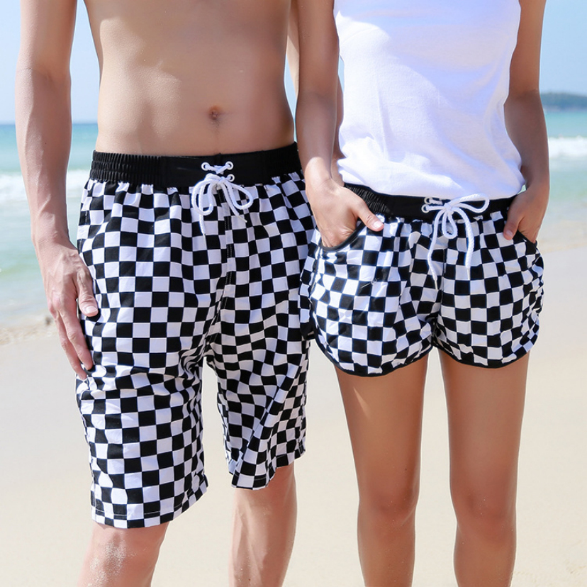 Aliexpress of high sales of beach pants Black and white little couples are beach pants loose