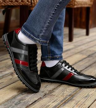 2018 Lace up Patchwork Mixed colour Shoes Men's Business Casual Loafers Male Slip-on Flats mocassin homme Runway Casual shoes