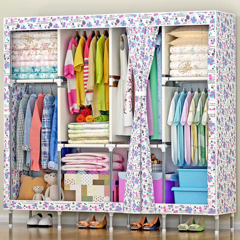 Flower pattern Folding wardrobe 19MM steel pipe Large capacity font b closet b font Household Oxford