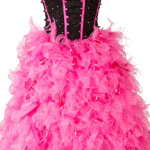 Image 4 - Graceful High Low Gorgeous Prom Dresses with Flowers Feather Black and Fuschia Evening Dress vestido de festa Evening Gown