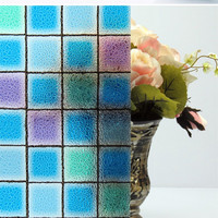 45 200 Cm Opaque Color Box Mosaic Frosted Window Films PVC Static Cling Self Adhesive Privacy
