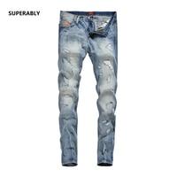 Hot koop hip hop lichtblauw jeans mannen superably merk ripped jeans logo slim skinny denim moto biker jeans U371