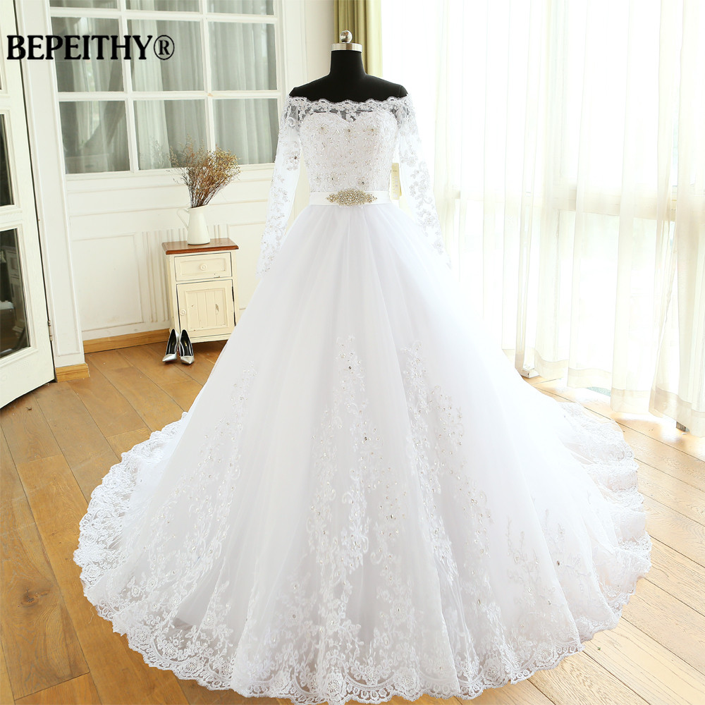 Vestido De Novia Empire Wedding Dresses Chapel Train Long Sleeve Off The Shoulder Customized Cheap Brides Dress Long Bridal Gown