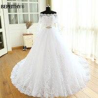 Vestido De Novia Empire Wedding Dresses Chapel Train Long Sleeve Off The Shoulder Customized Cheap Brides Dress Long Bridal Gown