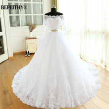 Vestido De Novia إمباير فساتين زفاف ذيل شابيل كم طويل خارج الكتف مخصص رخيصة فستان العرائس فستان زفاف طويل
