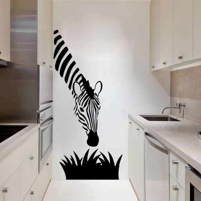 Zebra wall decals modern art decoration for your kitchen bedroom or