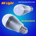 E27/E14/GU10 4W 5W 6W 9W 12W 2.4G Wireless Wifi Control Dimmable CW/WW RGBW RGBWW Mi Light LED Bulb AC85-265V Led Lamp Lighting