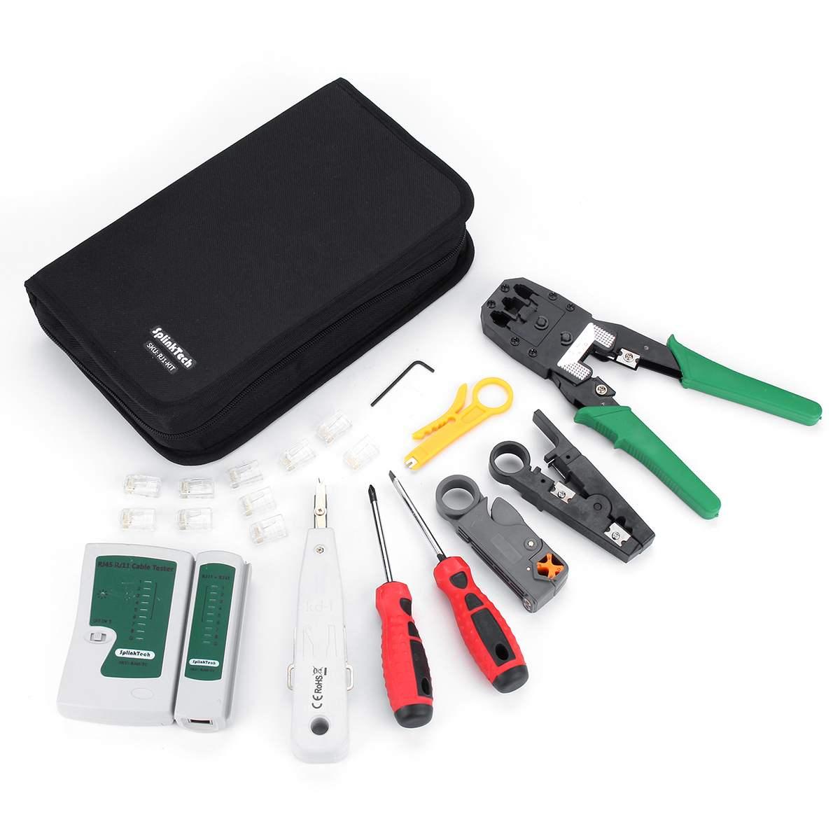 18 pièces Kit d'outils de réparation réseau UTP testeur de câble portable téléphone LAN pince à sertir RJ45 RJ11 RJ12 CAT5 CAT5e Kit d'outils