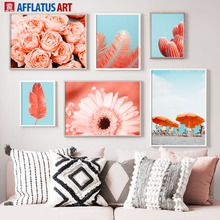 Pink Rose Palm chrysanthemum Flower Beach Wall Art Canvas Painting Nordic Posters And Prints Pictures For Living Room Decor