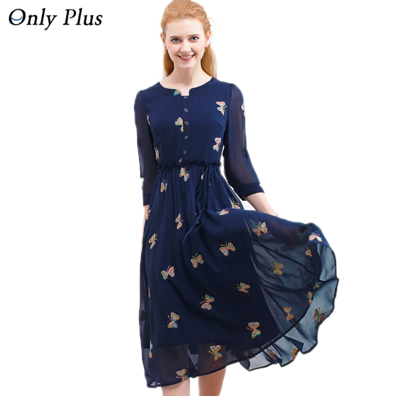 ONLY PLUS 2017 Autumn Chiffon Print Dress Casual Cute O Neck Women Party Long Dresses Long