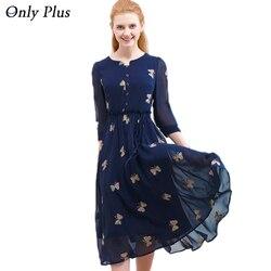 ONLY PLUS 2017 Autumn Chiffon Print Dress Casual Cute O-Neck Women Party Long Dresses Long Sleeve Vestido S-XXL
