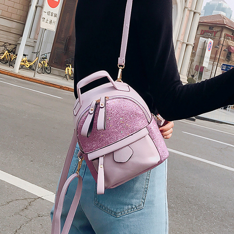 Fashion 2019 Sequins PU Leather Women Backpack Children Back