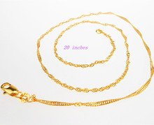 Free shipping 20inhces 1PCS GOLD FILLED Making Jewelry Water Wave Necklace Chains With Lobster Clasps
