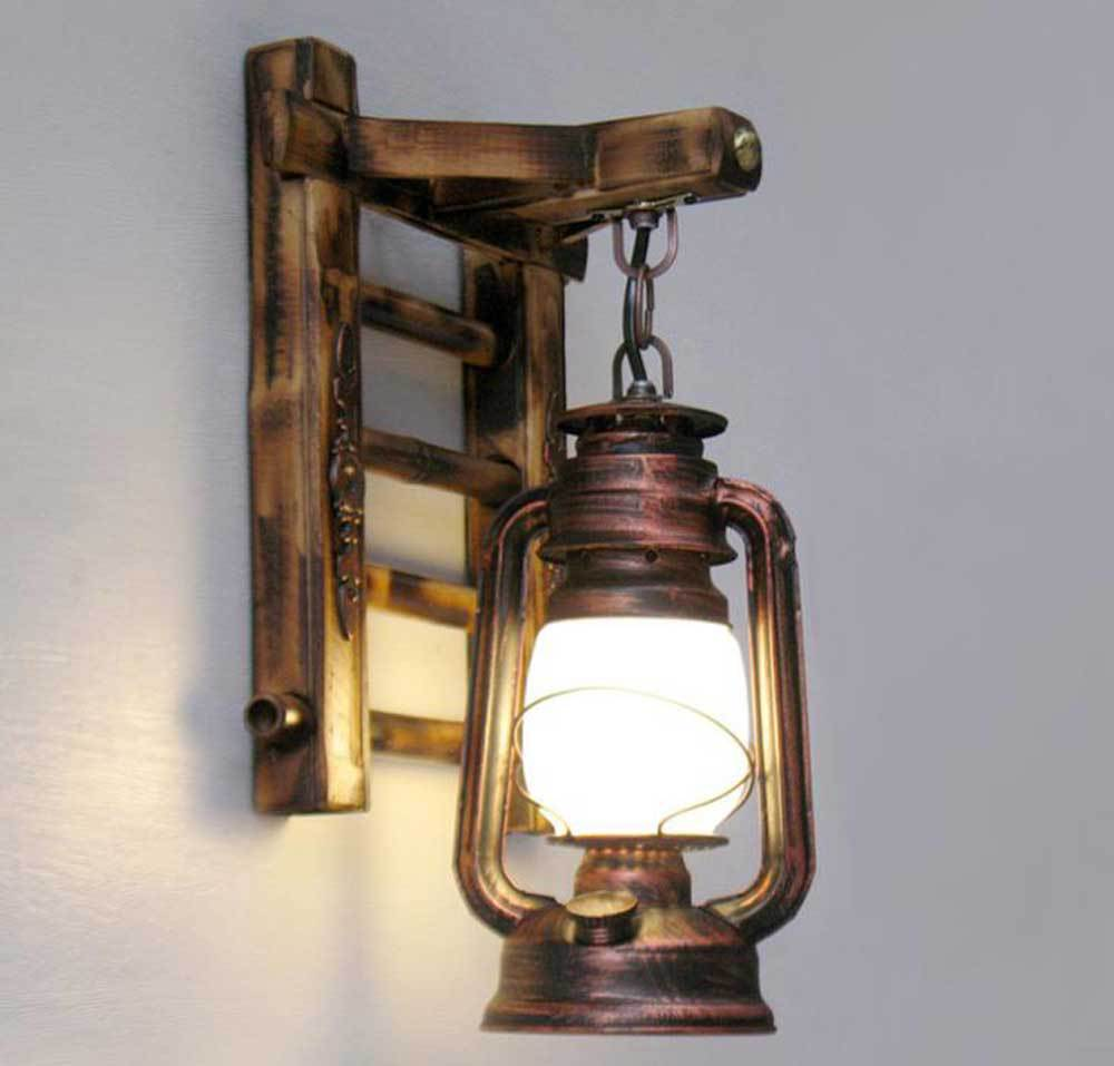 Chinese Styl Bamboo Ladder Wall Lamps Vintage Barn Lantern Rustic Sconces Lighting Kerosene Oil Lamp