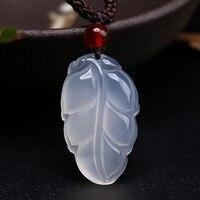 Ücretsiz kargo Doğal beyaz Buz kalsedon Kolye Kadınlar Için Moda Romantik Jades oymalı Yapraklar Kolye DIY Takı