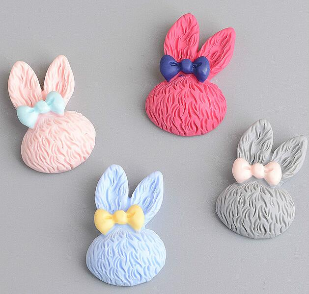 free shipping DIY resin cabochons accessories flat back resin planar rabbit head for 1.7 ...